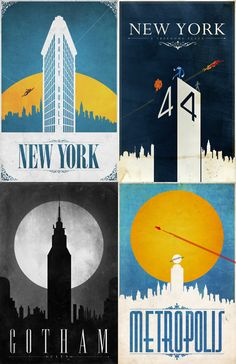 Comic book travel posters