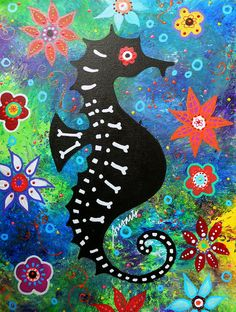 Seahorse Day Of The Dead Painting by Pristine Cartera Turkus - Seahorse Day Of The Dead Fine Art Prints and Posters for Sale