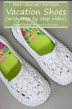 Take a dollar store pair of flip flops and one skein of Lion Brand RE-UP yarn and make an awesome pair of shoes with this pattern. Great for vacation walking, or a pair that will quickly become your… Crochet Shoes Pattern, Shoe Pattern, Crochet Slippers, Crochet Patterns, Flip Flop Slippers, Flip Flop Shoes, Crochet Baby, Free Crochet, Knit Crochet
