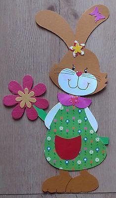 Fensterbild Tonkarton Frühling/Ostern Ein Osterhasen Mädchen mit Blume