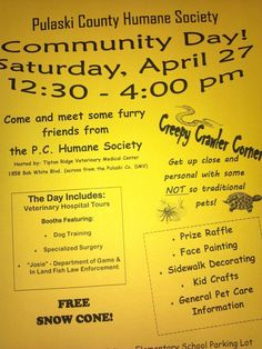 Let Pulaski County Humane Society & Tipton Ridge put sugar & spice & everything nice as well as snips & snails & puppy dog tails into your day on Sat, 4/27/13.  Community Day is from 12:30-4 at Tipton Ridge. Visit with shelter dogs & cats, as well as some not so traditional members of our community at Creepy Crawler Corner.  Kids can enjoy face painting, sidewalk decorating, kids crafts, & free snow cones.   Questions? Call Pul Co. Humane Society, 540-674-0089 or email pchsva@gmail.com