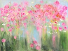 """Poppies and white daisies"" by Sue Fenlon (currently lives in Northumberland on the border of  England and Scotland where she draws much of her inspiration from her surroundings)"