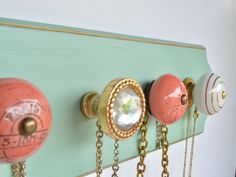 Necklace Hanger Seafoam Green and Gold / Accessory Organization / Jewelry Organizer / Ceramic Knobs / Women's Gift by LeLeeDesign on Etsy https://www.etsy.com/listing/237603822/necklace-hanger-seafoam-green-and-gold