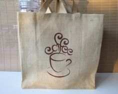 Jute Tote, Coffee Tote Bag, Jute Tote Bag, Coffee Bag, Tote Bag, Coffee Tote, Cotton Lined Jute Tote Bag