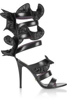 Emanuel Ungaro Wrap-around ruffled leather sandals   NET-A-PORTER
