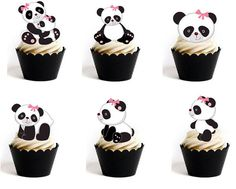 12 x edible wafer baby girl panda cupcake cake toppers Pre-cut baby shower, birthday Baby Shower Oso, Panda Baby Showers, Baby Shower Themes, Shower Ideas, Panda Cupcakes, Mini Cupcakes, Panda Bear Cake, Bear Cakes, Panda Birthday