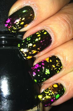 Black spotted nail art... Home made