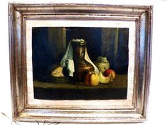 Oil on copper Old Painting S.XIX. Still life fruits and jug