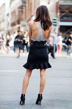 Cotton. Short skirt. Back cleveage.