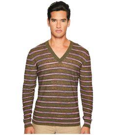 MISSONI MISSONI - STRIPED LINEN SWEATER (GREEN) MEN'S SWEATER. #missoni #cloth #