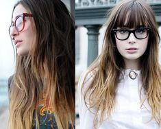 Ombre Hair Color ideas With Highlights not digging the black glasses girl so much, but the other one looks just right.