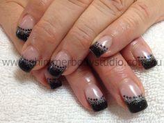 Gel nails, Black nails, Glitter nail art.