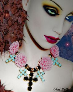"Necklace for 17"" Fashion dolls by Chic Doll (Rosalie Schwartz) This necklace really makes this shot! Oh you beautiful Swallow...to think that even you could be made more stunning: the power of an accessory."
