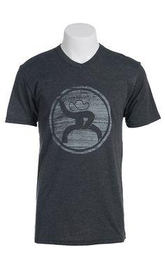 HOOey Men's Heathered Charcoal Hippie Logo Short Sleeve Tee
