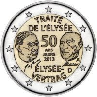 Erikoiseurot Saksa 2€ Élysée-sopimus 50 vuotta, 2013
