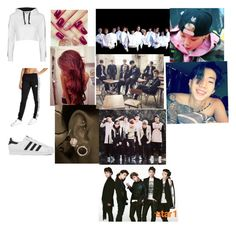 """""""My dream outfit tonight and hanging out with exo,bts, got7, and shinee and Amber and jay park"""" by emirahusetovic ❤ liked on Polyvore featuring Topshop, adidas Originals and adidas"""