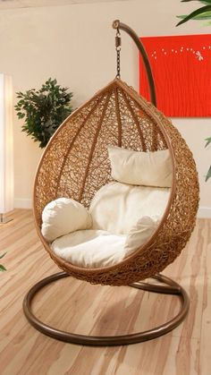 Hanging swing chair are lovable and make who sit there feel comfortable and relax. Here is the cool hanging swing chair with stand that you will love it. Bedroom Swing, Comfy Bedroom, Bedroom Chair, Hanging Swing Chair, Hammock Chair, Swinging Chair, Hanging Chairs, Swing Chairs, Bag Chairs