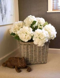 White hydrangeas have a beauty of their own : Hydrangea Basket - Medium (square) Basket Flower Arrangements, Artificial Flower Arrangements, Floral Arrangements, Cream Flowers, Silk Flowers, Square Baskets, Artificial Hydrangeas, Indoor Flowers, Faux Plants