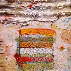 "Carey Corea,""False Door"", Encaustic / Mixed Media on cradled panel, 16x16."