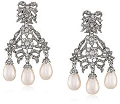 Kenneth Jay Lane Bride Simulated Cream Pearl Crystal Bowl Chandelier Dangle Clip-On Earrings *** You can get more details by clicking on the image.