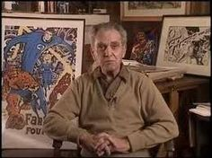 Jack Kirby next to art of his famous creations with Stan Lee,the Fantastic Four. The collaboration would spawn the Marvel Universe.