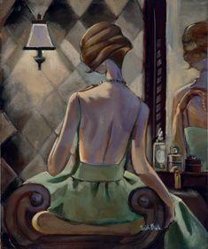 Vanity Green Giclée Print on Canvas