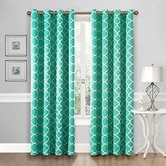 FlamingoP Curtains For Bedroom, Energy Efficient Moroccan Tile Quatrefoil Blackout Top Grommet Unlined Window Curtains, Set of Two Panels, each 84 by 52, Turquoise ** Be sure to check out this awesome product.
