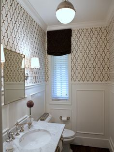 layout Elizabeth Reich, Interior Design - traditional - powder room - baltimore - by Jenkins Baer Associates Judges Paneling, Wood Paneling, Of Wallpaper, Bathroom Wallpaper, Moroccan Wallpaper, Bathroom Stencil, Graphic Wallpaper, Geometric Wallpaper, Picture Frame Molding