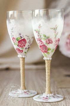 Wine glasses pink roses wedding rustic chic от RusticBeachChic