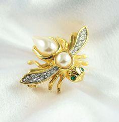 Vintage Joan Rivers Pave Rhinestone Faux Pearl Bee Brooch.