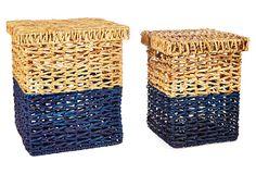 Asst of 2 Color-Block Baskets, Blue on OneKingsLane.com...  Wish they were a mint color!!!
