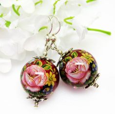 Red Earrings  Pink Rose   Floral  Japanese by MyGemstoneDesigns, $20.00