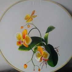 Hand silk embroidered yellow orchids Hoop siz