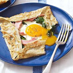 Ham, spinach and egg buckwheat galette