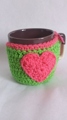 Coffee Cup Coaster Cozy with a Heart by EngineeringHandCraft