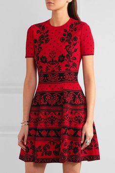 Alexander McQueen - Jacquard-knit Mini Dress - Red -
