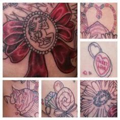 Cupcake tattoo, lolita skull tattoo, candy necklace tattoo, gerbera tattoo, lollipop tattoo, love heart tattoo
