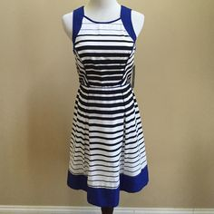⭐️HP Style Obsessions⭐️Dress⭐️ ⭐️Adorable white dress with black stripes and blue detailing⭐️In great condition with tags!⭐️Shell and Contrast is 100% Polyester⭐️Lining is 100% Acetate⭐️Machine washable!!!No TradesNo PayPal Mossimo Dresses High Low