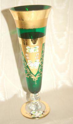 Moser+Antique+Czech+Glass+Vases+|+Vintage+Antique+Bohemian+Moser+Emerald+Green+Glass+Vase+with+Enamel+...