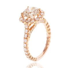 18k Rose Gold Champagne Diamond Engagement Ring 3.57ct TDW  Size 6  100% REAL #SolitairewithAccents