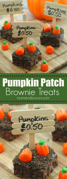 Patch Brownie treats - perfect for a non-spooky Halloween party treat or., Pumpkin Patch Brownie treats - perfect for a non-spooky Halloween party treat or., Pumpkin Patch Brownie treats - perfect for a non-spooky Halloween party treat or. Dessert Halloween, Soirée Halloween, Halloween Party Treats, Spooky Treats, Halloween Goodies, Halloween Cupcakes, Holiday Treats, Halloween Brownies, Halloween Snack Ideas