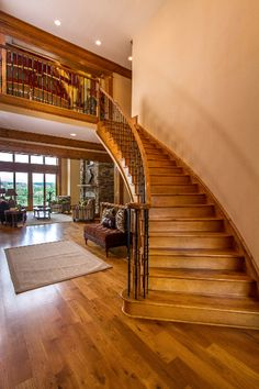 Stairs Leading To Second Story #WoodStairs #OpenFloorPlan