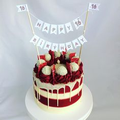 Hands up red velvet lovers Stripes and drips topped with the yummiest mini cake truffles. Happy sweet Bunting by the talented jackdawdecor Red Velvet Birthday Cake, Red Velvet Wedding Cake, Red Cake, Cake Birthday, 16th Birthday, Drip Cakes, Mini Cakes, Cupcake Cakes, Red Velvet Cake Decoration