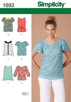 1693 Misses' Tops - Misses' pullover tops have round necklines with or without collar, back button and loop closure and can be made sleeveless or with long, short or flutter sleeves. A, C elastic waist forming a blouson; E, F have an easy swing shape.