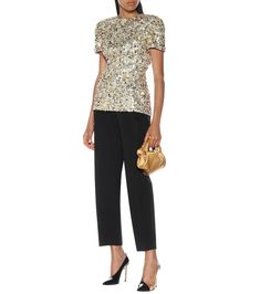 Shop Sequined top presented at one of the world's leading online stores for luxury fashion. Burberry Print, Party Tops, Peplum Blouse, Patent Leather Pumps, Wool Pants, Sequin Top, Rick Owens, Printed Cotton, Black Pants