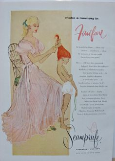 Lovely pink nightgown & cute little redhead girl getting her hair brushed in this Seamprufe 50s #vintage #lingerie #ad