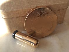 Vintage Hazel Bishop Ultra-Matic Compact Mirror with Click-In Powder and No-Smear Lipstick Gold by TinselandFlamingo on Etsy