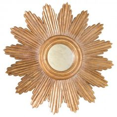Handcarved Gold Leaf Starburst Mirror. Center Is Antiqued Mirror. http://www.plumgoose.com/worlds-away-ludwig-starburst-gold-leaf-mirror.html