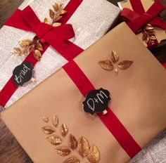 The red ribbon and gold accents turn modest paper into a classy present via @thedieline