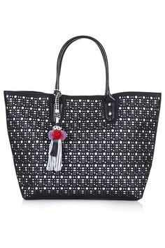 Top Shop BNWT Black Laser Cut Tote Bag With Charms